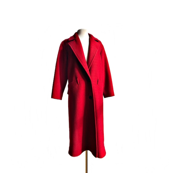 Vintage 70s red & black wool coat/ vibrant color o