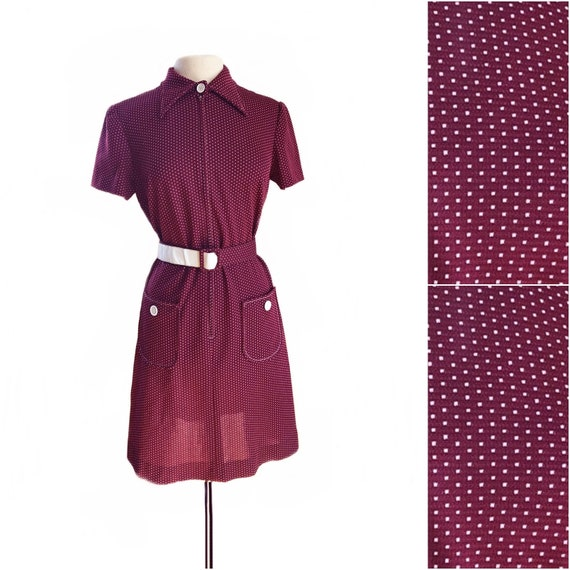 Vintage 60s maroon polka dot dress/ preppy burgund