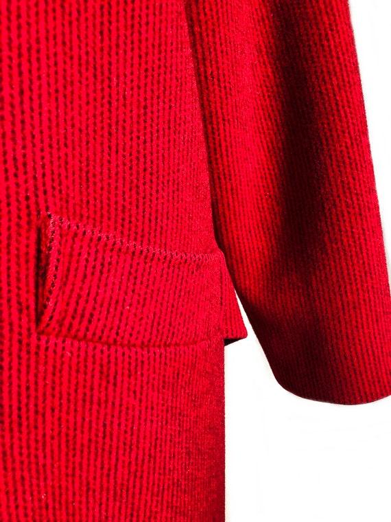 Vintage 70s red & black wool coat/ vibrant color … - image 5