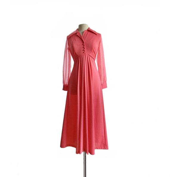 Vintage 70s pink maxi shirt dress/ long sheer chif
