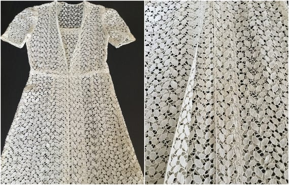 Vintage 40s lace dress/ white eyelet summer dress/