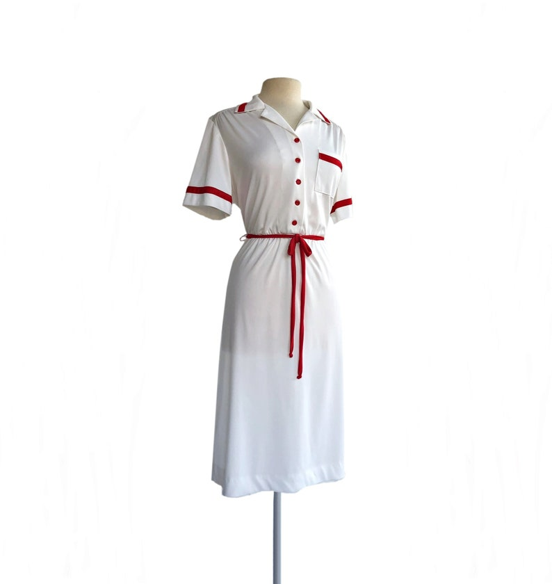 Vintage 70s white /& red shirt dress by Sears