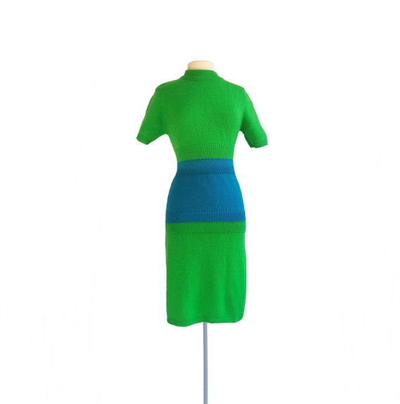 Vintage 70s green and blue sweater dress| form fit