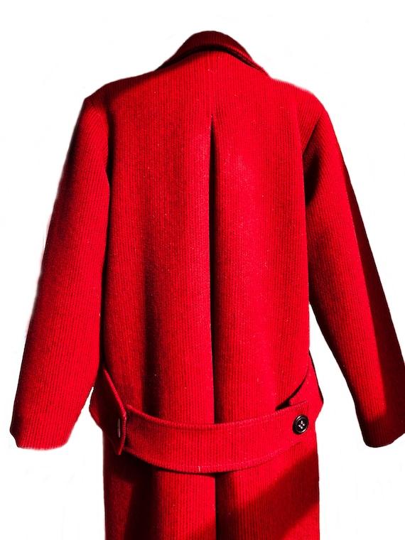 Vintage 70s red & black wool coat/ vibrant color … - image 7
