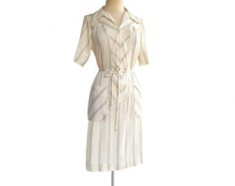 Vintage 70s Sears striped cotton day dress  cream white green & red stripes  yoke summer shirtdress with front zipper