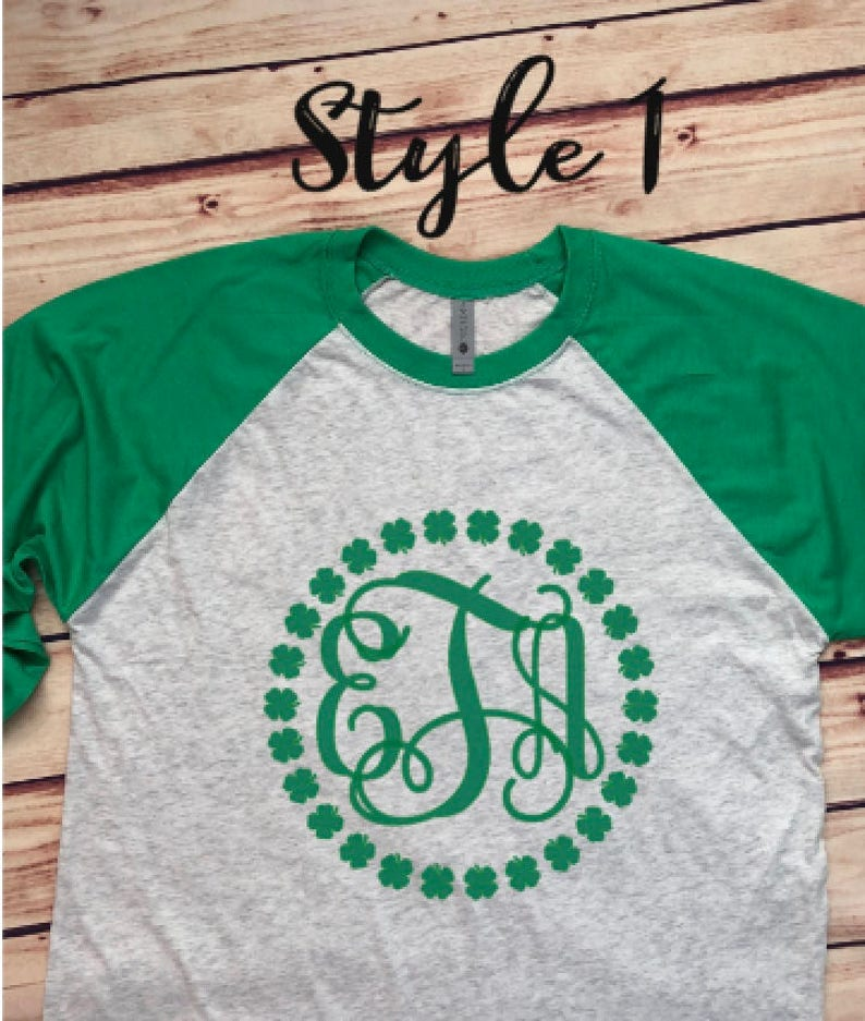 19db2913 St Patricks Day monogram raglan Shirt St Patty's | Etsy