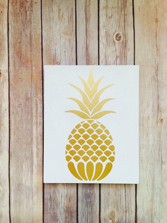 Pineapple home decor pineapple kitchen gold pineapple art | Etsy