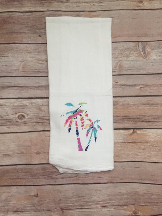 beach theme kitchen, palm tree tea towel with saying, kitchen linens,  personalized kitchen towel, palm tree print
