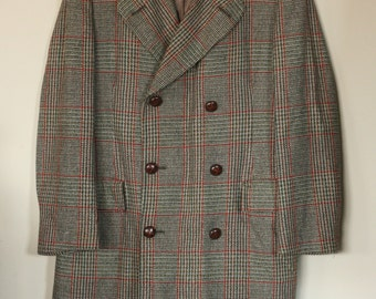 vintage wool plaid men's double breasted coat size 42R