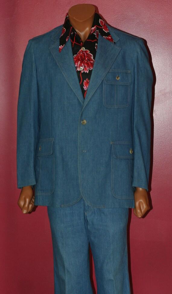 vintage denim levis two piece suit size 42