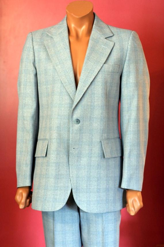 vintage mens grey and white plaid suit