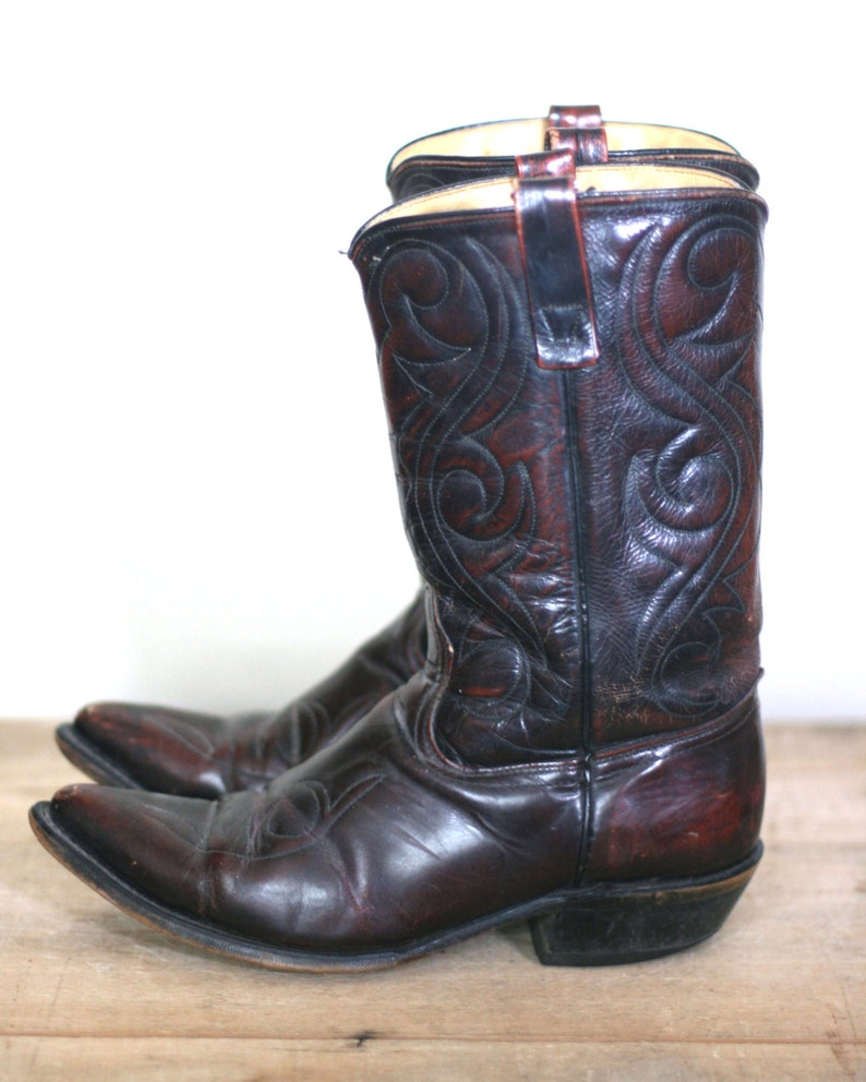 vintage men's acme brown leather cowboy boots size 9D image 0