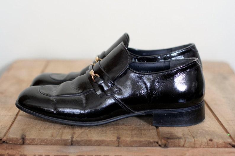 7e545e048011c vintage black patent leather slip on shoe mens size 8.5 disco