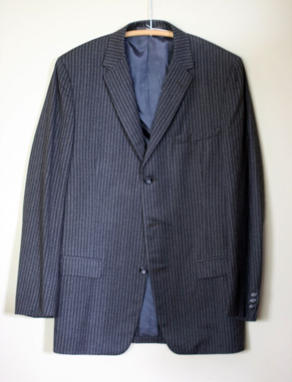 vintage two piece wool suit mens size 40 by richman brothers grey on grey pinstripe