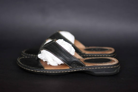 new arrivals top quality thoughts on vintage born black leather flip flop sandals ladies size 7