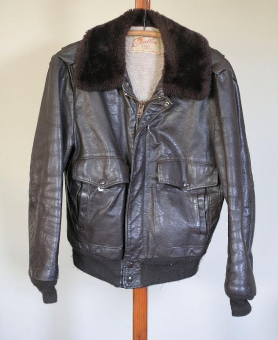 vintage brown leather flight jacket by excelled si
