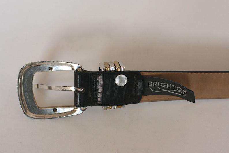 vintage brighton belt women/'s size ML32 brownish black faux lizard with silvergold buckle