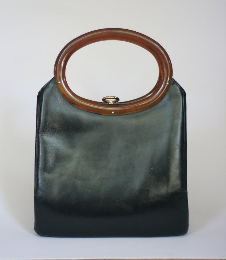 04c32a0aa8 Vintage rolfs negro cuero bolso con asas ovales plástico