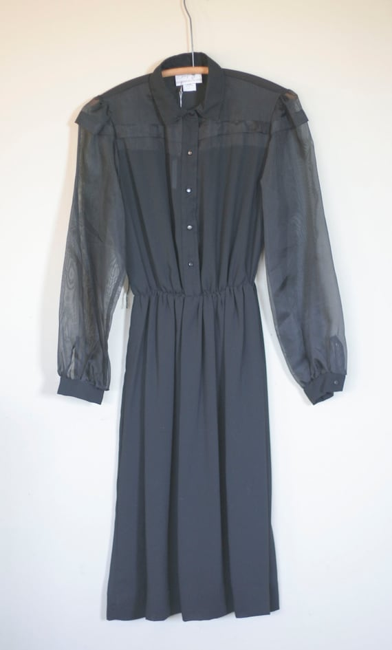 Vintage Long Sleeved Black Sheer Dress By Shapely Dress Co Etsy