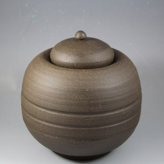 Chubby Round Ceramic Stoneware Lidded Sugar Bowl Jar by Etsy