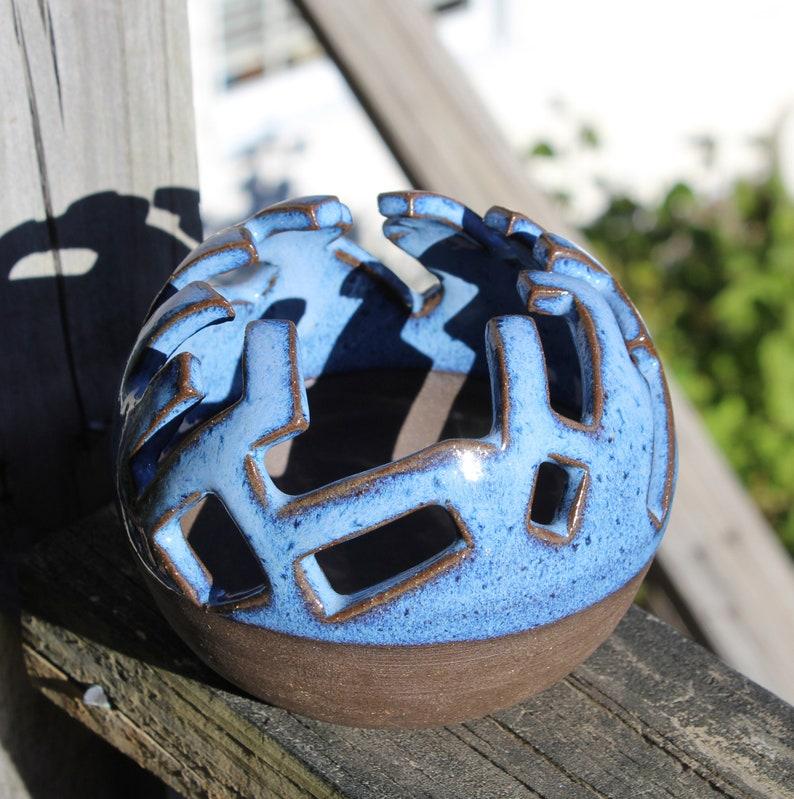 Handmade Ceramic Stoneware Geometric Tetris Pattern Votive Bowl