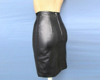 6d1d600e33 Black Leather pencil skirt 100% Genuine Lambskin leather Sexy Business Dress  New