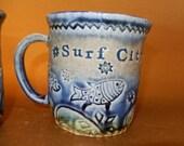 Surf City MUG ~ Fish Stars Swirls Beach house Summer time ~ Coffee ~ Tea ~ Soup Cup ~ Gift LBI Vacation