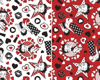 eca520d243 Betty Boop Sassy Love Kisses Hearts Symbols Cotton Fabric by the yard   by  the half yard