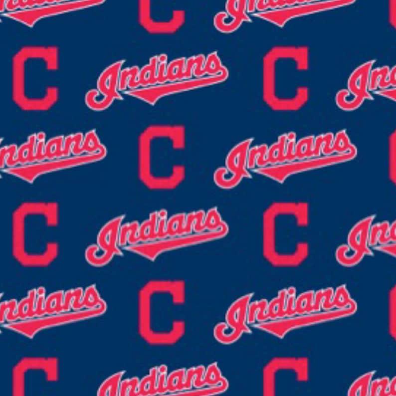 b079d1e327516 BTY MLB Cleveland Indians Major League Baseball Team Cotton fabric Logo  allover 6638