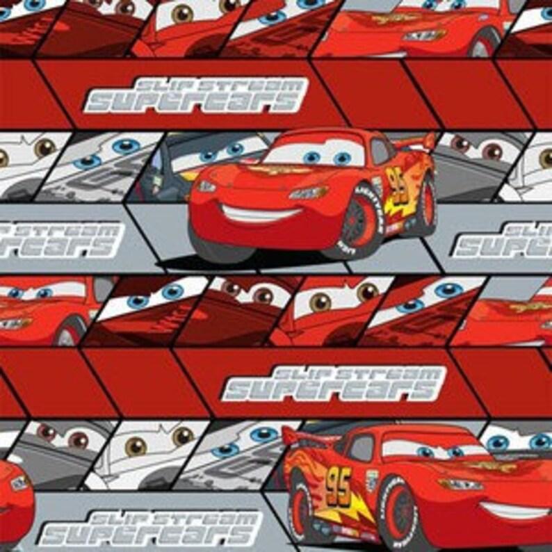 Yard Disney Movie Cars Mcqueen 95 Red On Red Stripe Print Etsy