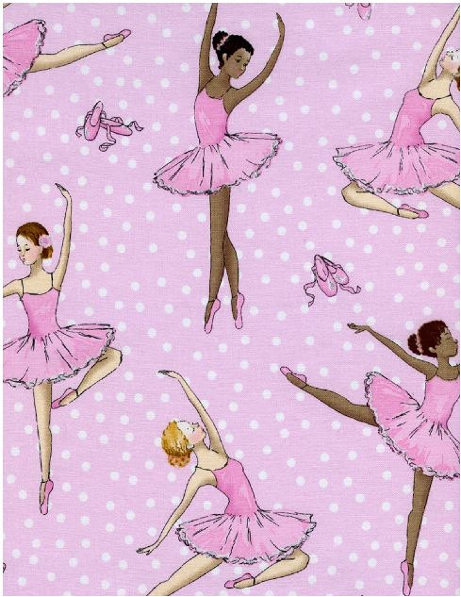 timeless treasures ballerina ballet dancers shoes on polka dots pink cotton fabric by the yard / by the half yard