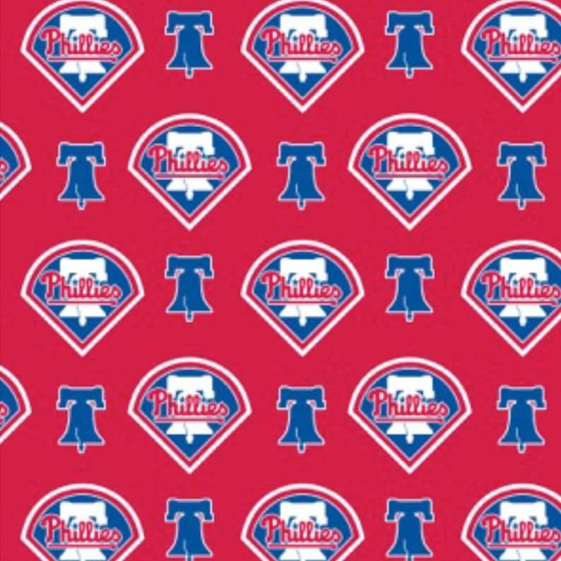 227ec6c439a43 BTY MLB Philadelphia Phillies Red Cotton Fabric By The Yard Logo allover  6649-B Major League Baseball Team
