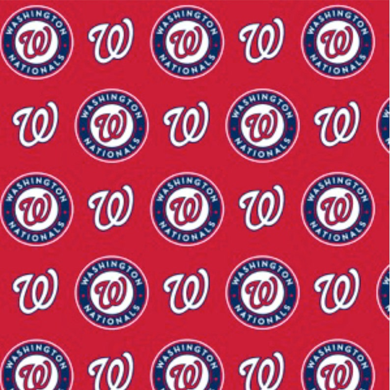 ad618facc105f MLB Washington Nationals Logo Red Cotton Fabric by The Yard - Half Yard  Major League Baseball Team 6658-B