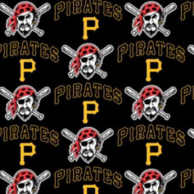 d879e7c9ec47f MLB Pittsburgh Pirates Cotton fabric By The Yard - Half Yard Logo allover  6650-B Major League Baseball Team