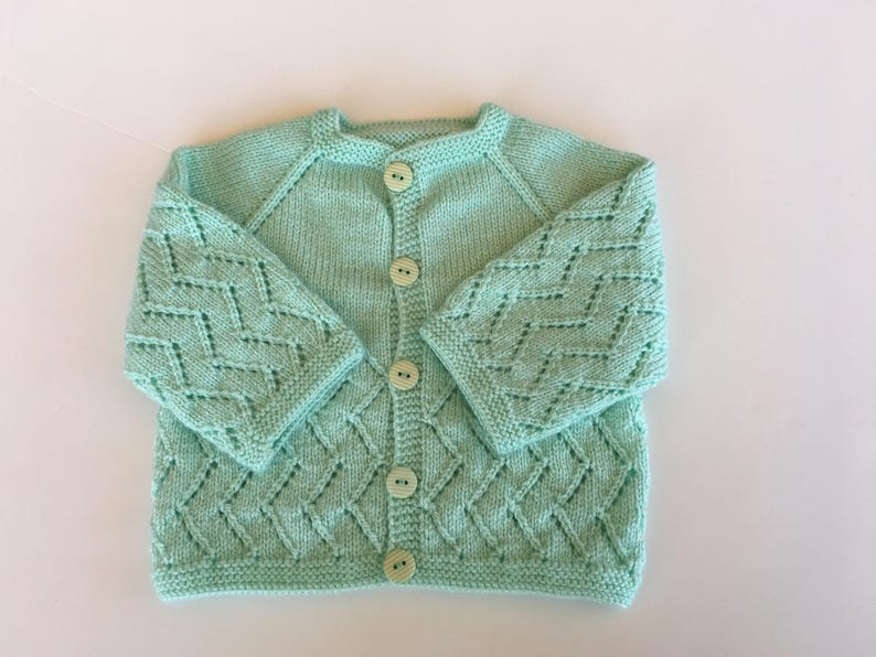 679fa0c5344ef Hand Knitted Lace Pattern Mint Color Baby Sweater 6-12 | Etsy