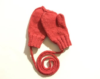 Hand knitted wool mittens with thumb and string, size 12-24 months old. Ready to ship. Winter accessories.