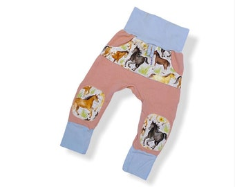 3-12 months Horse grow with me joggers pants, ready to ship christmas baby shower gift, organic cotton comfortable adjustable lounge pants