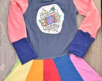 Rainbow Twirl Dress - Upcycled grow with me swirl t-shirt dress - recycled skirt shirt- colorful kindness flower - twirly clothing gifts