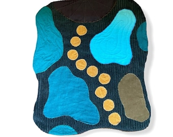 Upcycled open ended playmat for wood toys, play mat, toy rug, pond, lake, stepping stones, waldorf open-ended creative toy, handmade gift