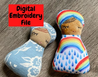 ITH Matryoshka Nesting Doll Embroidery design set - 9 doll sizes, mini doll multi sizes, Swaddle baby and mama DOLLS ONLY, single hoop