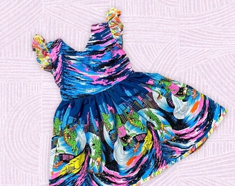 Size 4T Neon 80's dress, 1980s costume party outfit, pageant dress, back to school preschool  colorful twirly swirly skirt halloween easter