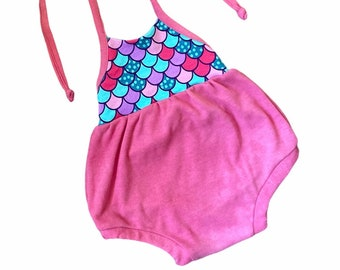 Mermaid baby bubble romper, 9month 12 month 9-12 month size, cute halter or cross back summer sunsuit outfit, under the sea, free shipping