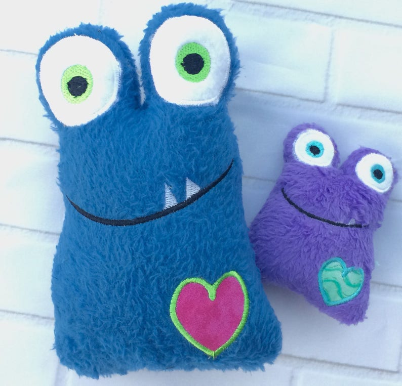 Mini love heart valentines monsters Baby toddler and kids image 0