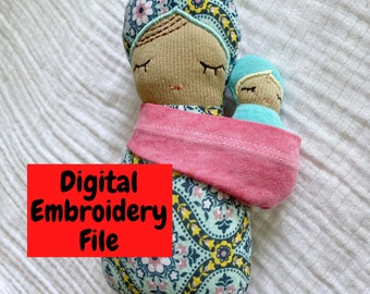 ITH Babywearing Nesting Doll Embroidery design bundle - 9 doll sizes, 6 sling carrier sizes,  Swaddle baby and mama dolls, single hooping