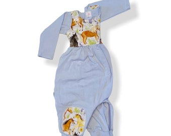 9month horse long sleeve organic cotton bubble romper zippered crotch, one piece lounge outfit, christmas baby shower gift ready to ship