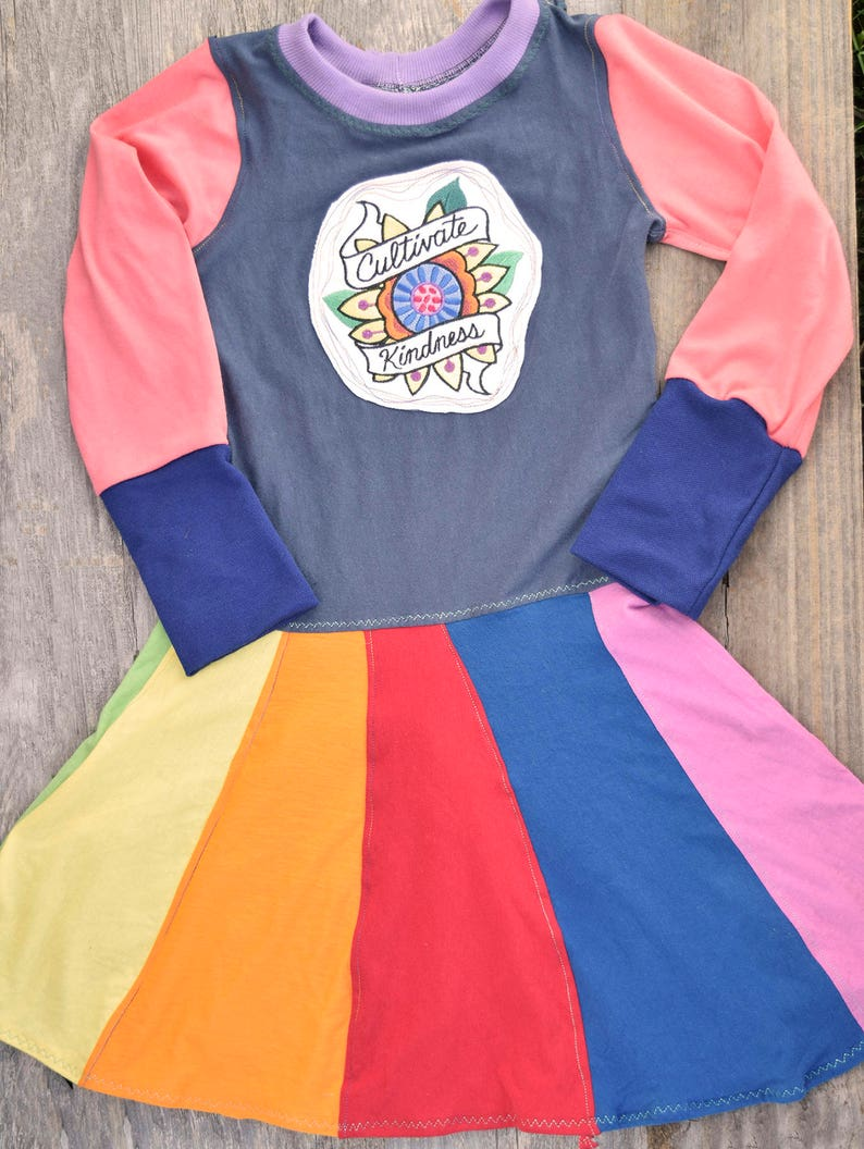 Rainbow Twirl Dress  Upcycled grow with me swirl t-shirt image 0