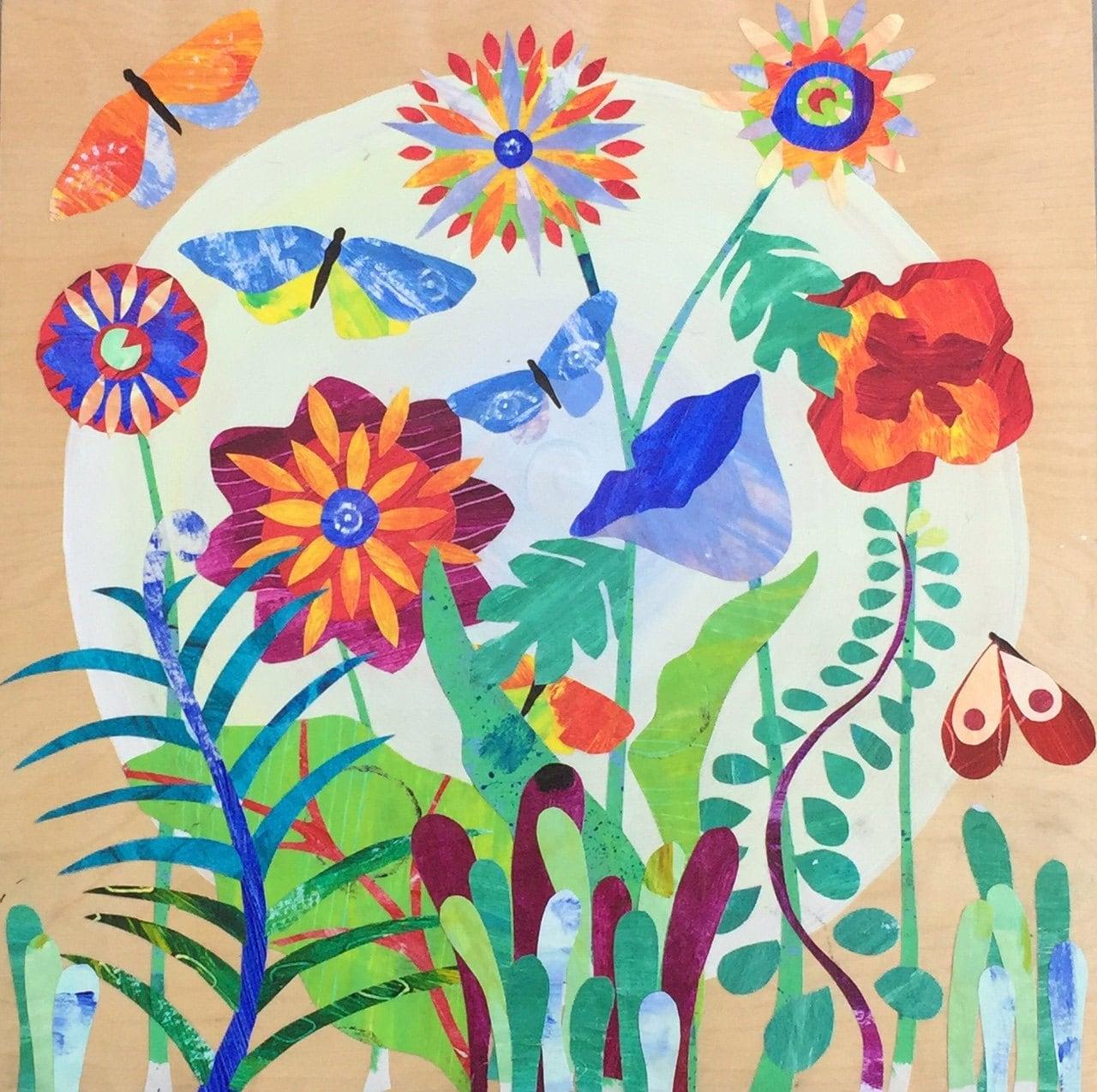 Print Art Painting Botanical Garden Folk Art Collage Illustration