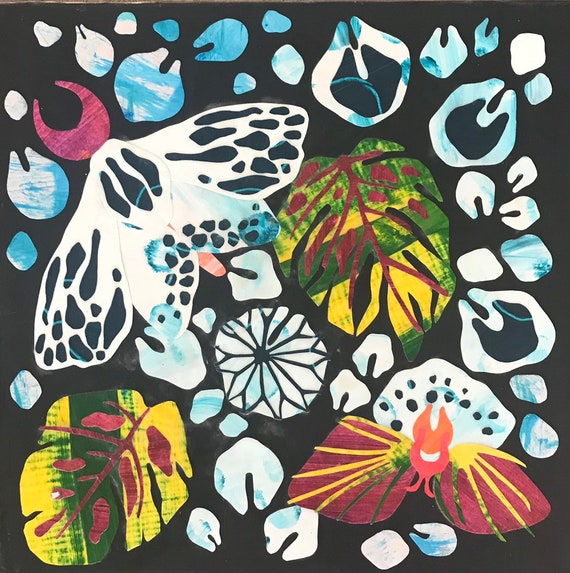 Art & Collectibles, mixed media, collage, painting, moth, acrylic, folk art, mikoazule, noelle correia, original artwork