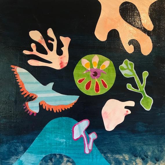 Original Art Mixed Media Abstract Art Blue 12 x12 Paper Cut Art Mikoazule