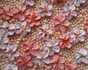 Royal icing cherry blossoms -- Made to Order -- Edible cake decorations cupcake toppers (12 pieces)